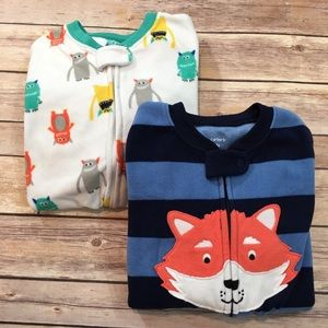 Set of 2 Carter's 3T Fleece Footed Boys Pajama's